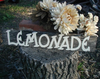 Wedding Reception Table Lemonade Drink Sign Barn Wood Hand Painted Recyled Pallet Ready to Ship