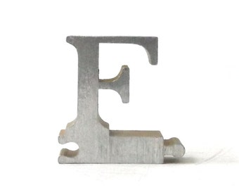 vintage 1950's letter F puzzle piece brushed aluminum metal word home decor sign message text type font silver retro home decor small old