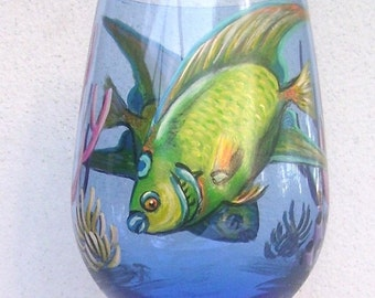 Queen Angelfish Ocean Tropical Fish Wine Glass Hand Painted  Reef Under the Sea Glass Wine Goblet