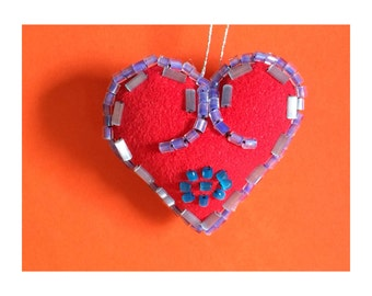 Valentines Heart - Valentines Gift - Beaded Heart - Decorative Heart - Heart Charm - Heart Ornament - Purple, Silver, Turquoise Beads