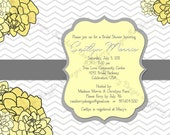 Chevron Bridal Shower Invitation, Flower Bridal shower Invite, Flower Invitation, Chevron Invitation, Printable, Chevron Wedding Invite