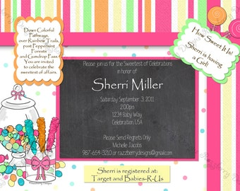 Candy Baby Shower Invitation Candy Invite Candy Theme Sweet