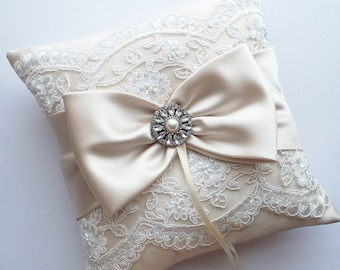 Wedding Ring Pillow in Champagne Satin with Beaded Ivory Alencon Lace, Satin Bow with Rhinestone and Pearl Center - The MELINDA Pillow