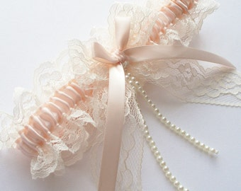 Lace Garter, Wedding Garter, Blush Wedding Garter with Lace Bow and Pearl Detail - The VERONICA Garter