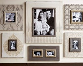 Set of Gray Toned Distressed Wall Frames Gallery Style Geometric