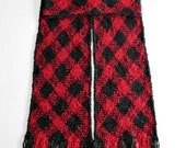 Red Plaid Scarf, Red and Black Scarf, Extra Long Scarf, Men or Women Winter Scarf, Handwoven Scarf