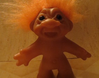 Vintage 1986  tHOMAS   Dam Troll Doll with ORANGE Hair and Amber Eyes, FLAT HANDS  80s Toys