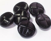 SALE  Vintage Black Glass 22mm Glass Buttons Set 6 Sewing Buttons with shanks
