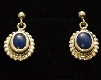 Sterling Silver and Lapis  Drop Earrings