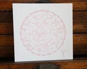 """Letterpress Print """"Constellations"""" in Dark Pink"""