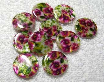 Rose Shell Beads Printed Flat Round Green/Yellow/Pink - (20mm x 4mm) - (10 Pcs) - B-1316
