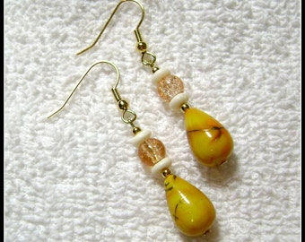 Yellow And Gold Earrings - Gold And Yellow Jewelry - Dangle Earring - E115