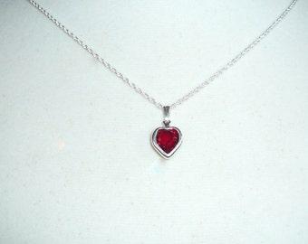 Tiny Heart Necklace, January birthstone, garnet Swarovski crystal