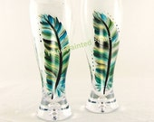 Men's Pilsner Beer Glasses, Crystal - Hand-Painted Feathers Teal Blue Green Black Silver Set of 2 READY TO SHIP - Guy's Mens Beer Glass