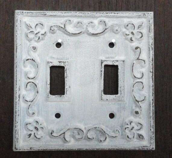 Cast Iron 2 Light Switch Plate Shabby Cottage Fleur De Lis