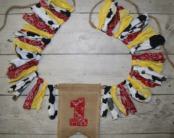 Red bandana, yellow and black and white cow print Shabby BUNTING, Fabric Flag Banner, Pennant, Photo Prop-First Birthday, Cake Smash