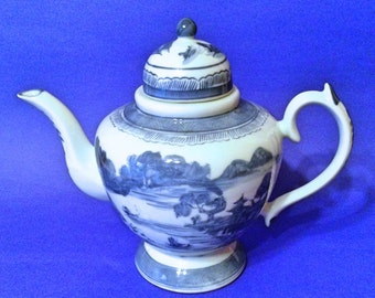 Vintage Chinese Tea Pot, Yongzheng Nian Zhi,  Blue, Scenic, Water, Ships, Mountains, Trees, Pagoda, Bridge, 1950's 1960's