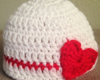 Valentine's Day Baby Hat, Baby Hat with Hearts, Valentine's Day Beanie, Valentine Hat, Baby Valentine Hat, Red, Pink, and White Baby Hat
