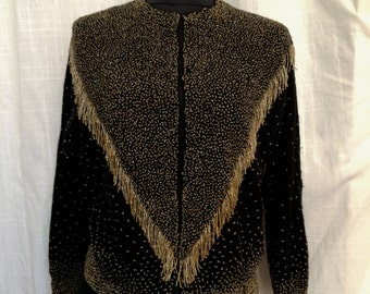 Vintage 1950's Black Cashmere Beaded Cardigan Dripping with Fringe