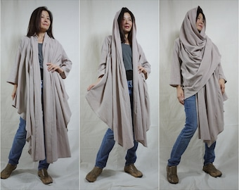 Piece Of My Heart ... Long Sleeves Buttonless Beige Taupe Cotton Wrap Tunic/Blouse/Vest Long Front Short Back