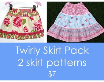 Twirl skirt pattern, Girls skirt pattern, Easy skirt pattern, Ruffle skirt pattern, Toddler pattern, PDF pattern - 2 Twirly skirt patterns