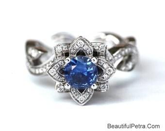 BLOOMING Work Of Art - Flower Rose Lotus Diamond Engagement Ring - Blue sapphire - 14K white gold -fL07 BeautifulPetra Patented design
