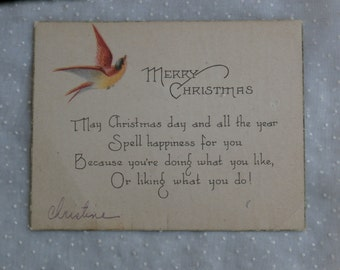 Early 1900s Christmas Card, Merry Christmas with Bird
