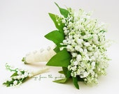 Lily of the Valley Bridal Bouquet Groom Boutonniere Lace Royal Wedding Flower Package Silk Flower Bouquet