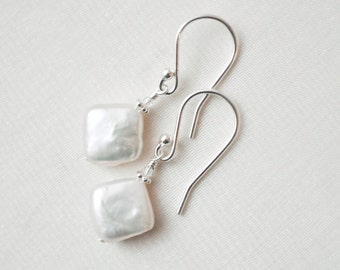 Coin Pearl Earrings, Freshwater Pearl Earrings, White Pearl Bridal Earrings, Beach Wedding Jewellery.