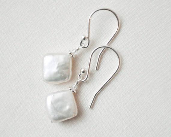 Coin Pearl Earrings, Freshwater Pearl Earrings, White Pearl Bridal Earrings, Beach Wedding Jewellery.