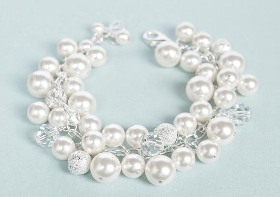 Pearl Cluster Bracelet, Crystal Pearl Jewelry, Chunky Pearl Bracelet