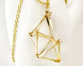 Gold Geometric Trapezoid Cage Necklace Abstract Prism Triangle Bar Pendant Bead Cage Trinket Holder Stones Sea Glass Handmade Jewelry Canada