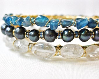 Blue Gemstone Stacking Bangle Bracelet Set Arm Party Metallic Gold Wire Wrapped Apatite Pearl & Clear Quartz Handmade Jewelry Canada
