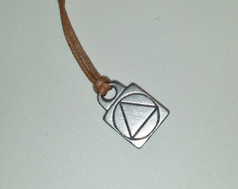 Pewter AA Symbol Sober Recovery Necklace Cotton Faux Leather Like Cord Vegan