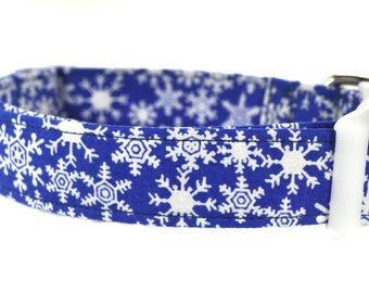 Holiday Dog Collar - Snowflakes in Blue