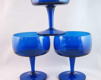 Vintage Sherbet Champagnes Cobalt Blue(3)