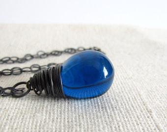 Sapphire Blue Glass Teardrop Necklace, Blue Czech Glass, Ink Blue, Oxidized Sterling Silver, Wire Wrapped, Blue Teardrop Pendant
