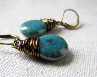 Turquoise Earrings, Blue Glass Earrings, Dainty Teardrop, Czech Glass, Under 20, Wire Wrapped, Small Blue Glass Earrings