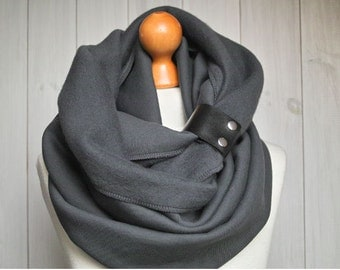 CHUNKY Infinity Scarf with leather cuff, winter scarf, gift ideas, charocal tube scarf with leather strap