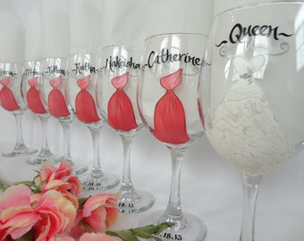 "Personalized Bridesmaid Wine Glasses - ""EXACT DRESS REPLICA"" Hand Painted Wine Glasses - Bridesmaid Wine Glasses - Bridal Champagne Flutes"