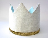 Boy Birthday Crown - Adjustable Party Hat - Linen Gold Blue - Dress Up - King for a Day - Little Prince - Aqua Blue and Ecru Tan