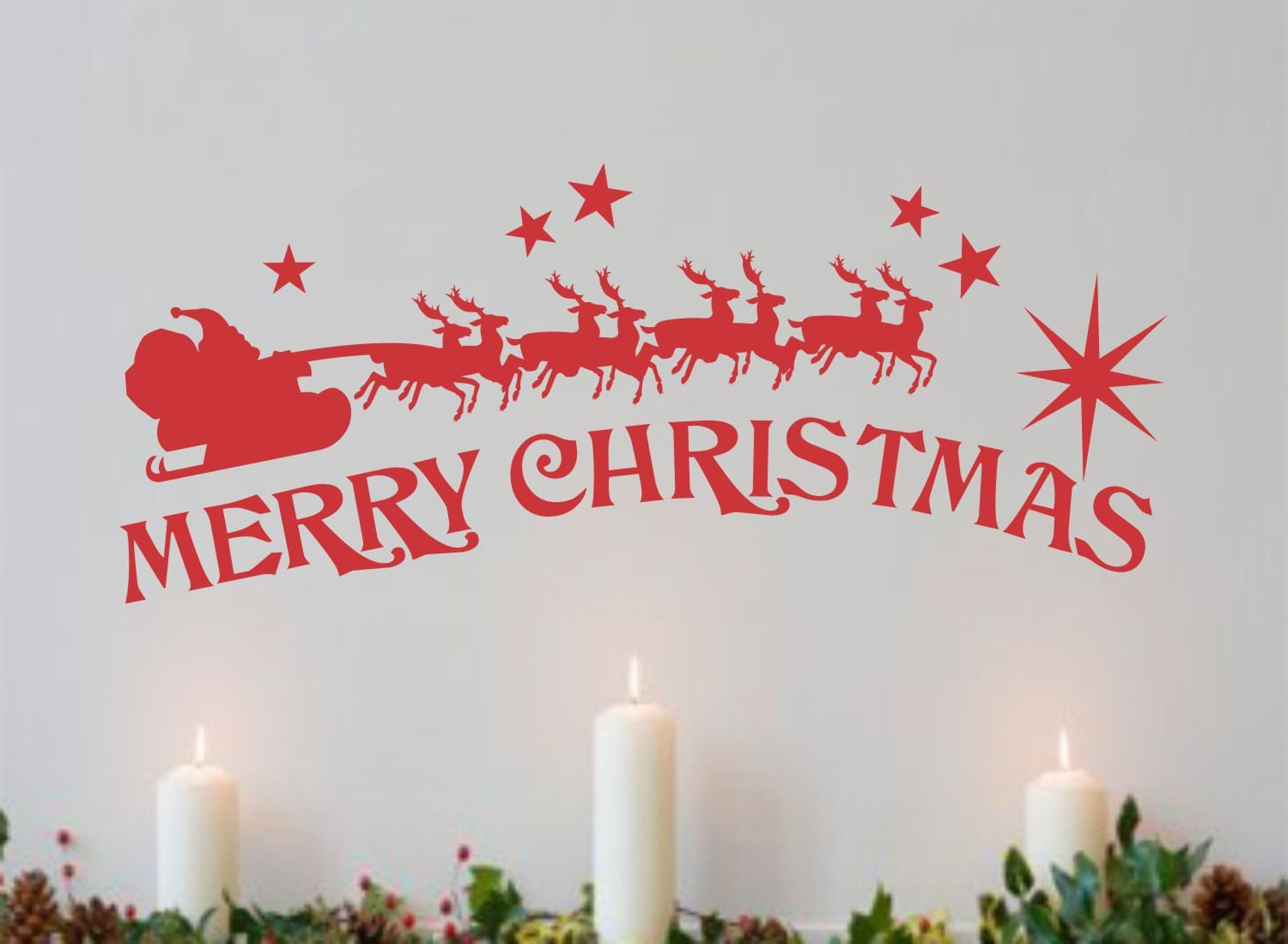 Merry Christmas Quote Wall Art Decal: Merry Christmas Santa Sleigh Holiday Decal Vinyl Wall