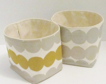 "Marimekko fabric basket, storage bin, organizer in ""Rasymatto"", silver/gold, authentic Marimekko fabric from Finland"
