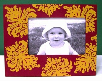 Hand Painted 4x6 Picture Frame, Burgundy and Gold Damask