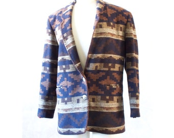 Vintage Indian Style Blanket Coat Jacket  - Wool  with Concho Buttons, muted colors