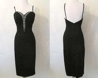 "Stunning 1950's ""Lilli Diamond"" Designer Cocktail Party Dress w/ Beaded Bodice Rockabilly VLV Curve Hugging Hourglass Size-Medium"
