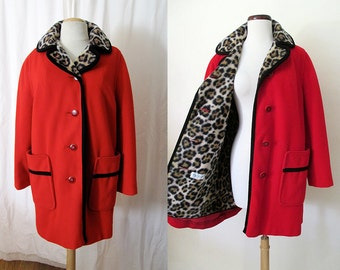 "Darling 1950's Lipstick Red Wool Coat w/ Faux Leopard Collar & lining  ""Penguin Originals"" Vintage Rockabilly Pinup Size-Medium-"