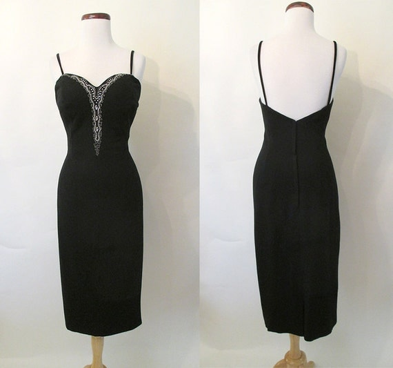 "Stunning 1950's ""Lilli Diamond"" Designer Cocktail Party Dress w/ Beaded Bodice Rockabilly VLV Curve Hugging Hourglass Size-Medium"