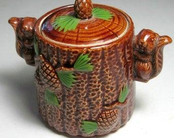 Squirrel Pinecone Ceramic Toothpick Holder, Vintage Squirrel Pinecone Condiment Holder, Vintage Covered Squirrel Pinecone Container