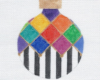 Harlequin and Stripes Needlepoint Ornament - Colorful - Jody Designs B116A